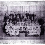 Mary Nicholls with some of   her pupils in Troon School