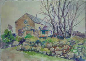 Plantation Chapel, near Troon. Watercolour painting by my father.