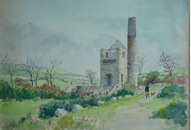 Watercolour sketch of engine house near Breage by my father