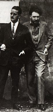 Pound (right) with James Joyce in Paris, 1923.(New York Public Library)