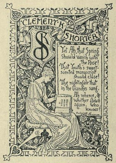 Clement Shorter's bookplate designed by Walter Crane