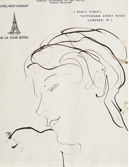 Sketch of Wyn Henderson by Augustus John in mid 1930s when she was managing the Guggenheim Jeune gallery. (Source: Guggenheim Museum, Venice)
