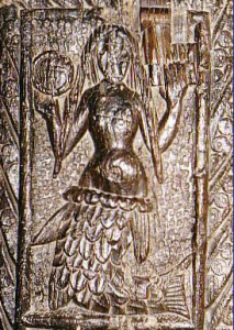 Mermaid pew end in Zennor church near St. Ives.