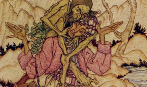 Sindbad and the Old Man of the Sea in Arthur Rackham's Fairy Book 1933
